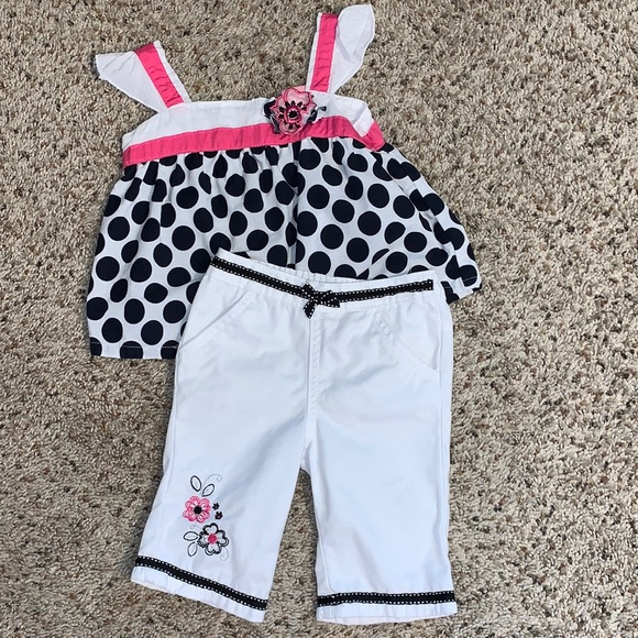 Nannette Girl White with Black Polka-dot outfit